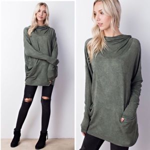 Tops - Sandwashed Cowl Neck Hoodie in Olive